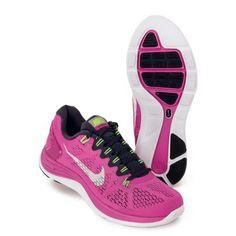 Womens Nike Lunarglide+ 5 Running Shoe Club Pink/Gridiron/Flash Lime/White  Size