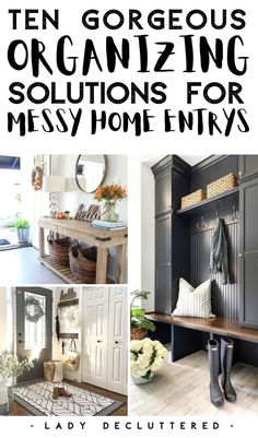 From the pile of shoes and the cluster of bags it is no wonder the home entry way always turns into a cluttered disaster. If you are looking for some great DIY home entryway ideas to help you declutter and organize your home, then you have made it to the right place! #ladydecluttered #homeentryways #homeentrywayideas #storagesolutions #organizingtipsforthehome #howtodeclutterahomeentryway #frontdoororganizing Entryway Storage, Entryway Ideas, Entryway Decor, Declutter Your Home, Organizing Your Home, Organizing Tips, Getting Organized At Home, Hallway Inspiration, Hallway Furniture