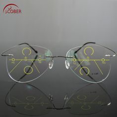 4345ed4bb526 SCOBER   Large Frame Pilot B Titanium Ultra-light Progressive multifocus  Rimless READING GLASSES add