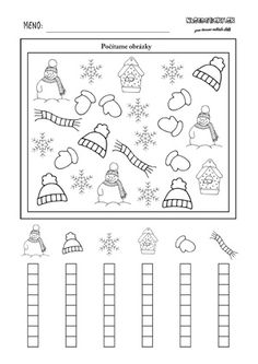 Zimný pracovný list pre deti - počítame zimné obrázky Kindergarten Math Worksheets, Preschool Math, Winter Activities, Preschool Activities, First Grade Lessons, English Activities, Learning Numbers, Elementary Music, Math For Kids