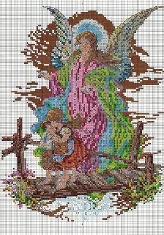 solo angeles (pág. 2) | Aprender manualidades es facilisimo.com 123 Cross Stitch, Free Cross Stitch Charts, Cross Stitch Angels, Simple Cross Stitch, Modern Cross Stitch, Cross Patterns, Counted Cross Stitch Patterns, Cross Stitch Designs, Cross Stitch Embroidery