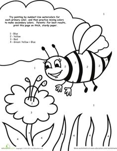 Preschool Colors Counting Numbers Color By Number Worksheets Watercolor Paint Bee