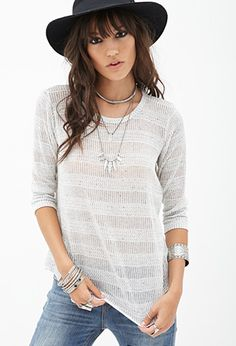 Striped Open-Knit Top | FOREVER21 - 2000104781