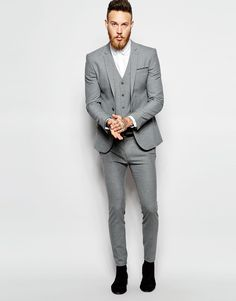 Image 1 of ASOS Skinny Wedding Suit in Poplin in Grey | bridal ...