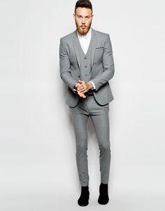 Image 1 of ASOS Skinny Wedding Suit in Poplin in Grey | bridal ...