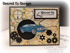 Greared up garage Set classic garage dsp stampin' up! demonstrator how to diy handmade homemade rubber stamping crafts cardmaking 16th Birthday Card, Birthday Cards For Men, Male Birthday, Stampin Up Karten, Stampin Up Cards, Masculine Birthday Cards, Masculine Cards, Cascading Card, School Scrapbook Layouts