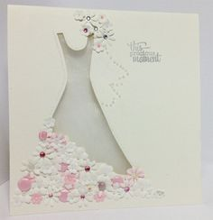 handmade dress die cards | Wedding Dress Card - Handmade