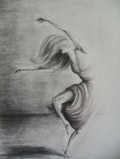 Charcoal Dancer Drawing  Adoration by wild running art on Etsy, $130.00