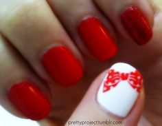 This idea I like and seems doable in any color #nails #konad #bow