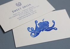graphic design, logo, card designs, business cards, studio brave, business card design, busi card, octopus, sweet greek