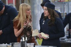 Conference ~ Caroline (Beth Behrs), Max (Kat Dennings) ~ 2 Broke Girls ~ Episode Still ~ Season 3: Episode 10: And the First Day of School #amusementphile