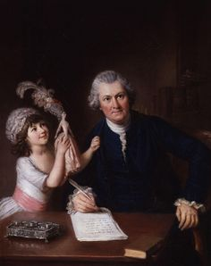 William Hoare (circa 1707-1792) - Portrait of Christopher Anstey and his daughter, circa 1776-78