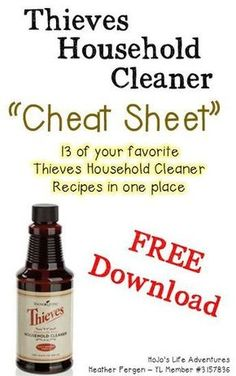 Do you ever get sick of having to look up your THC recipes each time you need them? That's why I've created this Thieves Household Cleaner Cheat Sheet!