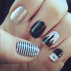 Modern nails, black and white Nail art - Jamberry - manicure - nail design   Www.wrapmeupnails.jamberrynails.net Www.facebook.com/wrapmeupnails