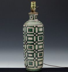 The Lamp is a very fine example of Gambone Italian Pottery and features a wonderful Mid Century Modern design with great Geometric designs mostly in a dark olive green on an off white background. The Lamp is in very good condition overall with light wide crazing and no chips, cracks or repairs. | eBay!