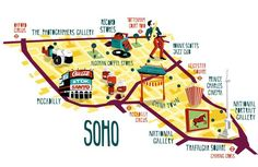 soho map illustration London borough