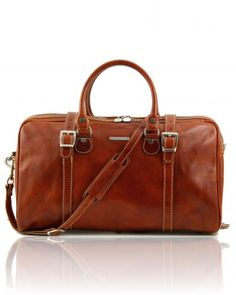 Berlin - Travel leather duffle bag - Small size Honey
