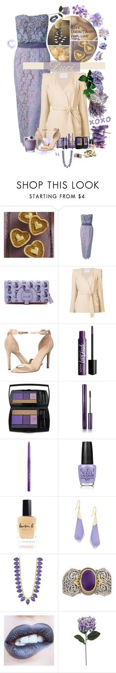 """Lilac Love"" by duci ❤ liked on Polyvore featuring Ceil Chapman, Ryan Roche, GUESS, Lancôme, By Terry, Stila, OPI, Lauren B. Beauty, Alexis Bittar and Loren Hope"