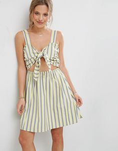 ASOS Striped Sundress with Bow and Cut Out Detail - Multi