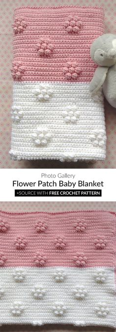 Are you looking for the perfect blanket for your child? I have an interesting design for you. It is a very soft and warm blanket with an amazing look. Flower Patch Baby Blanket Crochet Häkeln+Stricken Are you loo Crochet Blanket Patterns, Baby Blanket Crochet, Crochet Baby, Free Crochet, Crochet Pattern, Crochet Flower, Crochet Afghans, Crochet Blankets, Knitting Projects