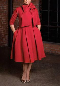 Red Pockets Bowknot Band Collar 3/4 Sleeve Homecoming Party Cloak Cute Midi Dress