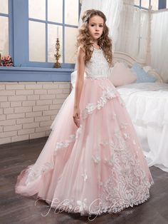 Cheap girls dress, Buy Quality girl dresses for weddings directly from China girls dresses for Suppliers: 2017 New Arrival Pink Lace Flower Girl Dress For Wedding Tulle Appliques First Communion Dresses Ball Gown Vestidos Longo Custom Gowns For Girls, Wedding Dresses For Girls, Junior Bridesmaid Dresses, Little Girl Dresses, Girls Dresses, Prom Dresses, Princess Dresses For Girls, Pretty Dresses For Kids, Pink Princess Dress