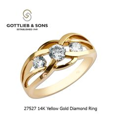Gottlieb & Sons 27527 - Romantically intertwined, three channel set round diamonds are nestled into the polished surfaces of this ring. Gold Diamond Rings, White Gold Diamonds, Gold Rings, Round Diamonds, Rings For Her, Right Hand Rings, Diamond Pendant Necklace, Jewelery, Fine Jewelry