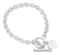 Elements Silver B066 Ladies' Heart Tag with T-Bar Sterling Silver Bracelet--40.46 Check more at https://www.thesterlingsilver.com/product/elements-silver-b066-ladies-heart-tag-with-t-bar-sterling-silver-bracelet/