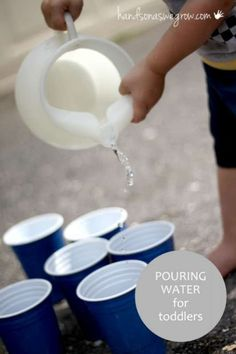 Pouring water activity for toddlers, a life skill to learn