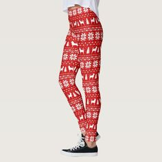 Chihuahua Dog Silhouettes Christmas Pattern Red Leggings - tap, personalize, buy right now! #Leggings #chihuahua #christmas #chi #sweater #pattern Norwich Terrier, Christmas Leggings, Ugly Christmas Sweater, Red Leggings, Leggings Fashion, Christmas Dog, White Christmas, Xmas, Christmas Holidays