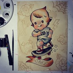 One of the commissions we did for Christmas! Boy Tattoos, Tattoos For Kids, Cute Tattoos, Sleeve Tattoos, Tatoos, Traditional Tattoo Baby, Nesting Doll Tattoo, Desenhos Old School, Baby Angel Tattoo