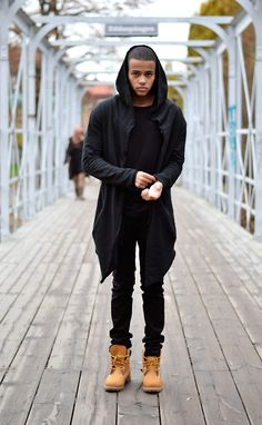 all black with the Camel colour Timberland boots