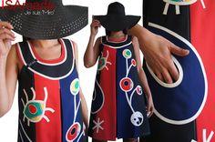 Robe trapèze Rouge/ bleu électrique/ Noire Tendance Femme 2015 Graphique et applications Stylisés aux couleurs acidulées : Robe par isamade