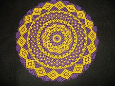 Hand Stitched Metallic Purple and Gold LSU by AcadianGlassArt