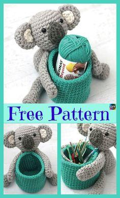 Adorable Crochet Koala Basket Free Pattern P - Adorable Crochet Koala Basket - Free Pattern Crochet Hood, Crochet Bear, Cute Crochet, Crochet Animals, Crochet Crafts, Crochet Projects, Crochet Dolls Free Patterns, Crochet Basket Pattern, Disney