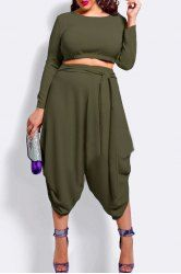 nice Stylish Long Sleeve Crop Top and High Waist Solid Color Irregular Pantskirt Twinset For Women (ARMY Fat Fashion, Curvy Girl Fashion, Plus Size Fashion, Fashion Outfits, Fashion Clothes, Crop Top Outfits, Curvy Outfits, Plus Size Outfits, Plus Size Crop Tops