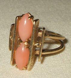 Vintage ART DECO Estate 14K GOLD Pink Angel Skin CORAL RING sz 7  $678