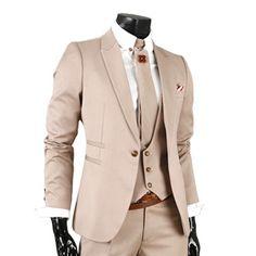 (GL5027-BEIGE) Mens Business Slim Fit Dress Suits $171.5