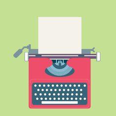 Red typewriter illustration