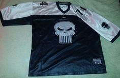RARE OFFICIAL PUNISHER FOOTBALL JERSEY ©2001 MARVEL COMICS 2X PATENT LEATHER ABK