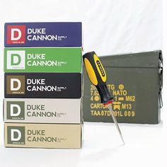 Duke Cannon MEN'S Body Care. Comes in a reusable ammo can.