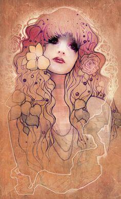 Beautiful Art Nouveau Style Illustrations by young artist Megan Lara. Art And Illustration, Illustrations, Fantasy Kunst, Fantasy Art, Art Magique, Sketch Manga, Street Art, Drawn Art, Art Graphique