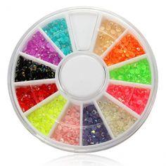 12 Colors Shiny Glitter Rhinestones Nail Art Decoration Wheel $1.71