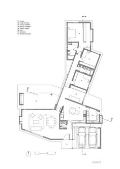 Gallery of House in Cañuelas / Gastón Castellano - 21 Modern House Plans, Small House Plans, House Floor Plans, House Floor Design, Casas Containers, Villa Plan, Container House Plans, Courtyard House, House Layouts