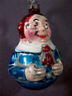 Roly-Poly or Tweedle Dee Clown * Vintage Christmas Tree Ornament * Germany