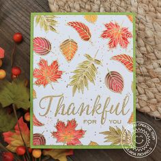 Sunny Studio Stamps: Elegant Leaves Fall Themed Thankful For You Card by Juliana Michaels Ash Leaf, Leaf Outline, Sunnies Studios, Leaf Cards, Thanksgiving Cards, Autumn Theme, Autumn Fall, Fall Cards, Color Card