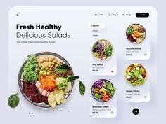 Homepage Website, Food Website, Food Web Design, App Ui Design, App Landing Page, Landing Page Design, Dessert Restaurant, Healthy Salads, Healthy Recipes