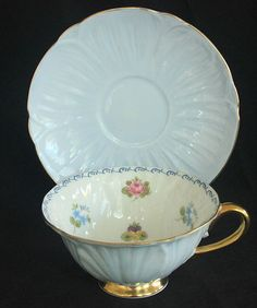 pale blue Shelley Oleander tea cup and saucer, with floral design inside cup IDEA China Cups And Saucers, Teapots And Cups, China Tea Cups, Teacups, Vintage Cups, Vintage China, My Cup Of Tea, Tea Cup Saucer, Tea Party