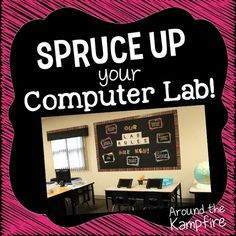 Classroom decor ideas to spruce up your computer lab with chalkboard decor. See how to not only brighten up and organize your lab, but also help it run more smoothly with these classroom management ideas and bulletin boards. Elementary Computer Lab, Computer Lab Lessons, Computer Lab Classroom, Computer Teacher, Technology Lessons, Teaching Technology, Computer Technology, Elementary Schools, Technology Integration