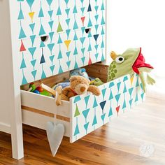 Triangulations Furniture Stencil for fun and vibrant kids room and nursery decor - Geometric and modern design by Royal Design Studio